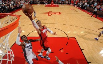 HOUSTON, TX - DECEMBER 9: Russell Westbrook #0 of the Houston Rockets shoots the ball against the Sacramento Kings on December 09, 2019 at the Toyota Center in Houston, Texas. NOTE TO USER: User expressly acknowledges and agrees that, by downloading and or using this photograph, User is consenting to the terms and conditions of the Getty Images License Agreement. Mandatory Copyright Notice: Copyright 2019 NBAE (Photo by Bill Baptist/NBAE via Getty Images)