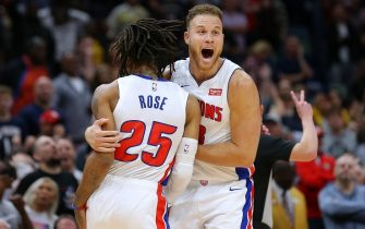 NEW ORLEANS, LOUISIANA - DECEMBER 09: Derrick Rose #25 of the Detroit Pistons celebrates a game-winning score with Blake Griffin #23 against the New Orleans Pelicans at the Smoothie King Center on December 09, 2019 in New Orleans, Louisiana. NOTE TO USER: User expressly acknowledges and agrees that, by downloading and or using this Photograph, user is consenting to the terms and conditions of the Getty Images License Agreement. (Photo by Jonathan Bachman/Getty Images)