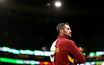 BOSTON, MASSACHUSETTS - DECEMBER 09: Kevin Love #0 of the Cleveland Cavaliers looks on during the game against the Boston Celtics at TD Garden on December 09, 2019 in Boston, Massachusetts. (Photo by Maddie Meyer/Getty Images)