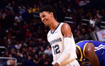 SAN FRANCISCO, CA - DECEMBER 9: Ja Morant #12 of the Memphis Grizzlies smiles during a game against the Golden State Warriors on December 9, 2019 at Chase Center in San Francisco, California. NOTE TO USER: User expressly acknowledges and agrees that, by downloading and or using this photograph, user is consenting to the terms and conditions of Getty Images License Agreement. Mandatory Copyright Notice: Copyright 2019 NBAE (Photo by Noah Graham/NBAE via Getty Images)