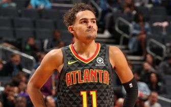 CHARLOTTE, NC - DECEMBER 8: Trae Young #11 of the Atlanta Hawks looks on against the Charlotte Hornets on DECEMBER 8, 2019 at Spectrum Center in Charlotte, North Carolina. NOTE TO USER: User expressly acknowledges and agrees that, by downloading and or using this photograph, User is consenting to the terms and conditions of the Getty Images License Agreement.  Mandatory Copyright Notice: Copyright 2019 NBAE (Photo by Kent Smith/NBAE via Getty Images)