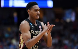 ANAHEIM, CALIFORNIA - MARCH 28: Devin Vassell #24 of the Florida State Seminoles cheers after a play against the Gonzaga Bulldogs during the 2019 NCAA Men's Basketball Tournament West Regional at Honda Center on March 28, 2019 in Anaheim, California. (Photo by Harry How/Getty Images)