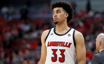 LOUISVILLE, KENTUCKY - NOVEMBER 24: Jordan Nwora #33 of the Louisville Cardinals in action in the game against the Akron Zips at KFC YUM! Center on November 24, 2019 in Louisville, Kentucky. (Photo by Justin Casterline/Getty Images)