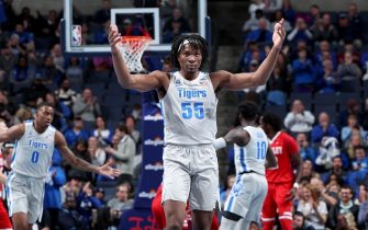 MEMPHIS, TN - DECEMBER 3: Precious Achiuwa #55 of the Memphis Tigers celebrates against the Bradley Braves during a game on December 5, 2019 at FedExForum in Memphis, Tennessee. Memphis defeated Bradley 71-56. (Photo by Joe Murphy/Getty Images)