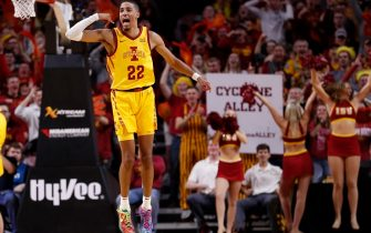 AMES, IA - DECEMBER 8: Tyrese Haliburton #22 of the Iowa State Cyclones reacts after scoring a three point shot in the second half of play at Hilton Coliseum on December 8, 2019 in Ames, Iowa. The Iowa State Cyclones won 76-66 over the Seton Hall Pirates. (Photo by David K Purdy/Getty Images)