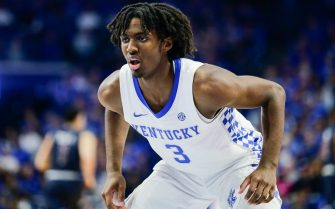 LEXINGTON, KENTUCKY - DECEMBER 07: Tyrese Maxey #3 of the Kentucky Wildcats guards a member of the Fairleigh Dickinson Knights during the second half of the game at Rupp Arena on December 07, 2019 in Lexington, Kentucky. (Photo by Silas Walker/Getty Images)
