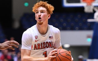 ANAHEIM, CA - DECEMBER 01:   Nico Mannion #1 of the Arizona Wildcats as he drives to the basket in the first half of the game against the Wake Forest Demon Deacons during the Wooden Legacy at the Anaheim Convention Center at on December 1, 2019 in Anaheim, California. (Photo by Jayne Kamin-Oncea/Getty Images)