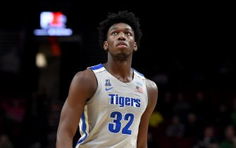PORTLAND, OREGON - NOVEMBER 12: James Wiseman #32 of the Memphis Tigers walks up court during the first half of the game against the Oregon Ducks between the Oregon Ducks and Memphis Grizzlies at Moda Center on November 12, 2019 in Portland, Oregon. (Photo by Steve Dykes/Getty Images)