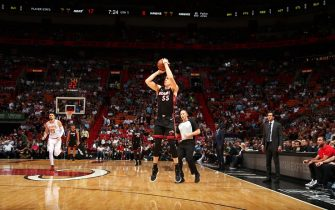 MIAMI, FL - DECEMBER 10: Duncan Robinson #55 of the Miami Heat shoots a three point basket during a game against the Atlanta Hawks on December 10, 2019 at American Airlines Arena in Miami, Florida. NOTE TO USER: User expressly acknowledges and agrees that, by downloading and or using this Photograph, user is consenting to the terms and conditions of the Getty Images License Agreement. Mandatory Copyright Notice: Copyright 2019 NBAE (Photo by Issac Baldizon/NBAE via Getty Images)