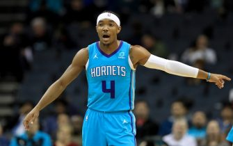 CHARLOTTE, NORTH CAROLINA - DECEMBER 10: Devonte' Graham #4 of the Charlotte Hornets reacts after a play against the Washington Wizards during their game at Spectrum Center on December 10, 2019 in Charlotte, North Carolina. NOTE TO USER: User expressly acknowledges and agrees that, by downloading and or using this photograph, User is consenting to the terms and conditions of the Getty Images License Agreement. (Photo by Streeter Lecka/Getty Images)