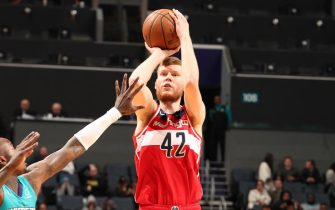 CHARLOTTE, NC - DECEMBER 10: Davis Bertans #42 of the Washington Wizards shoots the ball against the Charlotte Hornets on December 10, 2019 at Spectrum Center in Charlotte, North Carolina. NOTE TO USER: User expressly acknowledges and agrees that, by downloading and or using this photograph, User is consenting to the terms and conditions of the Getty Images License Agreement.  Mandatory Copyright Notice:  Copyright 2019 NBAE (Photo by Kent Smith/NBAE via Getty Images)