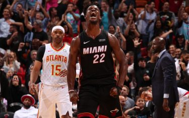 MIAMI, FL - DECEMBER 10: Jimmy Butler #22 of the Miami Heat reacts to a play during a game against the Atlanta Hawks on December 10, 2019 at American Airlines Arena in Miami, Florida. NOTE TO USER: User expressly acknowledges and agrees that, by downloading and or using this Photograph, user is consenting to the terms and conditions of the Getty Images License Agreement. Mandatory Copyright Notice: Copyright 2019 NBAE (Photo by Issac Baldizon/NBAE via Getty Images)
