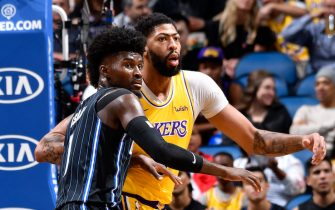 ORLANDO, FL - DECEMBER 11: Jonathan Isaac #1 of the Orlando Magic and Anthony Davis #3 of the Los Angeles Lakers fight for position during the game on December 11, 2019 at Amway Center in Orlando, Florida. NOTE TO USER: User expressly acknowledges and agrees that, by downloading and or using this photograph, User is consenting to the terms and conditions of the Getty Images License Agreement. Mandatory Copyright Notice: Copyright 2019 NBAE (Photo by Fernando Medina/NBAE via Getty Images)