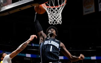 ORLANDO, FL - DECEMBER 11: Jonathan Isaac #1 of the Orlando Magic dunks the ball against the Los Angeles Lakers on December 11, 2019 at Amway Center in Orlando, Florida. NOTE TO USER: User expressly acknowledges and agrees that, by downloading and or using this photograph, User is consenting to the terms and conditions of the Getty Images License Agreement. Mandatory Copyright Notice: Copyright 2019 NBAE (Photo by Fernando Medina/NBAE via Getty Images)