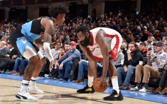 CLEVELAND, OH - DECEMBER 11: James Harden #13 of the Houston Rockets handles the ball against the Cleveland Cavaliers on December 11, 2019 at Rocket Mortgage FieldHouse in Cleveland, Ohio. NOTE TO USER: User expressly acknowledges and agrees that, by downloading and/or using this Photograph, user is consenting to the terms and conditions of the Getty Images License Agreement. Mandatory Copyright Notice: Copyright 2019 NBAE (Photo by David Liam Kyle/NBAE via Getty Images)