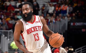 CLEVELAND, OH - DECEMBER 11: James Harden #13 of the Houston Rockets drives to the basket against the Cleveland Cavaliers on December 11, 2019 at Rocket Mortgage FieldHouse in Cleveland, Ohio. NOTE TO USER: User expressly acknowledges and agrees that, by downloading and/or using this Photograph, user is consenting to the terms and conditions of the Getty Images License Agreement. Mandatory Copyright Notice: Copyright 2019 NBAE (Photo by David Liam Kyle/NBAE via Getty Images)