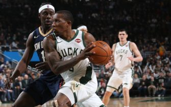 MILWAUKEE, WI - DECEMBER 11: Eric Bledsoe #6 of the Milwaukee Bucks drives to the basket against the New Orleans Pelicans on December 11, 2019 at the Fiserv Forum Center in Milwaukee, Wisconsin. NOTE TO USER: User expressly acknowledges and agrees that, by downloading and or using this Photograph, user is consenting to the terms and conditions of the Getty Images License Agreement. Mandatory Copyright Notice: Copyright 2019 NBAE (Photo by Gary Dineen/NBAE via Getty Images).
