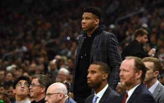 MILWAUKEE, WISCONSIN - DECEMBER 11:  Giannis Antetokounmpo #34 of the Milwaukee Bucks watches action during a game against the New Orleans Pelicans at Fiserv Forum on December 11, 2019 in Milwaukee, Wisconsin. NOTE TO USER: User expressly acknowledges and agrees that, by downloading and or using this photograph, User is consenting to the terms and conditions of the Getty Images License Agreement. (Photo by Stacy Revere/Getty Images)