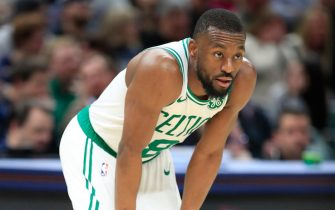 INDIANAPOLIS, INDIANA - DECEMBER 11:   Kemba Walker #8 of the Boston Celtics watches the action during the game against the Indiana Pacers at Bankers Life Fieldhouse on December 11, 2019 in Indianapolis, Indiana.   NOTE TO USER: User expressly acknowledges and agrees that, by downloading and or using this photograph, User is consenting to the terms and conditions of the Getty Images License Agreement. (Photo by Andy Lyons/Getty Images)