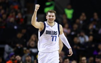 MEXICO CITY, MEXICO - DECEMBER 12: Luka Doncic #77 of the Dallas Mavericks celebrates during a game between Dallas Mavericks and Detroit Pistons at Arena Ciudad de Mexico on December 12, 2019 in Mexico City, Mexico. (Photo by Hector Vivas/Getty Images)