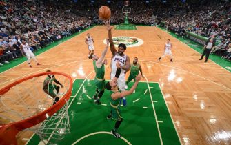 BOSTON, MA - DECEMBER 12: Joel Embiid #21 of the Philadelphia 76ers shoots the ball against the Boston Celtics on December 12, 2019 at the TD Garden in Boston, Massachusetts.  NOTE TO USER: User expressly acknowledges and agrees that, by downloading and or using this photograph, User is consenting to the terms and conditions of the Getty Images License Agreement. Mandatory Copyright Notice: Copyright 2019 NBAE  (Photo by Brian Babineau/NBAE via Getty Images)