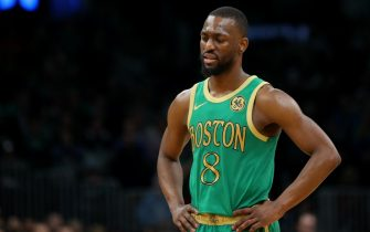 BOSTON, MASSACHUSETTS - DECEMBER 12: Kemba Walker #8 of the Boston Celtics looks on during the game against the Philadelphia 76ers at TD Garden on December 12, 2019 in Boston, Massachusetts.  The 76ers defeat the Celtics 115-109. NOTE TO USER: User expressly acknowledges and agrees that, by downloading and or using this photograph, User is consenting to the terms and conditions of the Getty Images License Agreement.  (Photo by Maddie Meyer/Getty Images)
