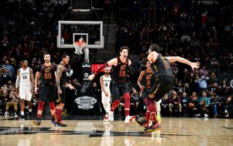 SAN ANTONIO, TX - DECEMBER 12: The Cleveland Cavaliers celebrate during the game against the San Antonio Spurs on December 12, 2019 at the AT&T Center in San Antonio, Texas. NOTE TO USER: User expressly acknowledges and agrees that, by downloading and or using this photograph, user is consenting to the terms and conditions of the Getty Images License Agreement. Mandatory Copyright Notice: Copyright 2019 NBAE (Photos by Logan Riely/NBAE via Getty Images)