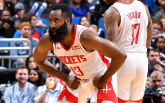 ORLANDO, FL - DECEMBER 13: James Harden #13 of the Houston Rockets plays defense against the Orlando Magic on December 13, 2019 at Amway Center in Orlando, Florida. NOTE TO USER: User expressly acknowledges and agrees that, by downloading and or using this photograph, User is consenting to the terms and conditions of the Getty Images License Agreement. Mandatory Copyright Notice: Copyright 2019 NBAE (Photo by Fernando Medina/NBAE via Getty Images)