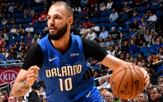 ORLANDO, FL - DECEMBER 13: Evan Fournier #10 of the Orlando Magic drives to the basket against the Houston Rockets on December 13, 2019 at Amway Center in Orlando, Florida. NOTE TO USER: User expressly acknowledges and agrees that, by downloading and or using this photograph, User is consenting to the terms and conditions of the Getty Images License Agreement. Mandatory Copyright Notice: Copyright 2019 NBAE (Photo by Fernando Medina/NBAE via Getty Images)