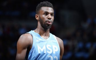 MINNEAPOLIS, MN -  DECEMBER 13: Andrew Wiggins #22 of the Minnesota Timberwolves looks on during the game against the LA Clippers on December 13, 2019 at Target Center in Minneapolis, Minnesota. NOTE TO USER: User expressly acknowledges and agrees that, by downloading and or using this Photograph, user is consenting to the terms and conditions of the Getty Images License Agreement. Mandatory Copyright Notice: Copyright 2019 NBAE (Photo by David Sherman/NBAE via Getty Images)
