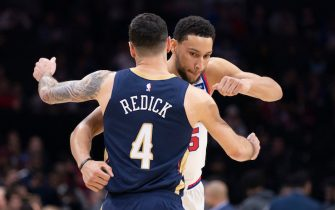 PHILADELPHIA, PA - DECEMBER 13: JJ Redick #4 of the New Orleans Pelicans hugs Ben Simmons #25 of the Philadelphia 76ers prior to the game at the Wells Fargo Center on December 13, 2019 in Philadelphia, Pennsylvania. NOTE TO USER: User expressly acknowledges and agrees that, by downloading and/or using this photograph, user is consenting to the terms and conditions of the Getty Images License Agreement. (Photo by Mitchell Leff/Getty Images)