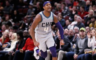 CHICAGO, ILLINOIS - DECEMBER 13: Devonte' Graham #4 of the Charlotte Hornets reacts in the fourth quarter against the Chicago Bulls at the United Center on December 13, 2019 in Chicago, Illinois. NOTE TO USER: User expressly acknowledges and agrees that, by downloading and or using this photograph, User is consenting to the terms and conditions of the Getty Images License Agreement. (Photo by Dylan Buell/Getty Images)