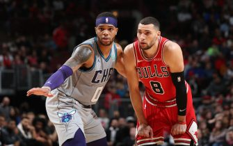 CHICAGO, IL - DECEMBER 13: Miles Bridges #0 of the Charlotte Hornets plays defense against Zach LaVine #8 of the Chicago Bulls on December 13, 2019 at the United Center in Chicago, Illinois. NOTE TO USER: User expressly acknowledges and agrees that, by downloading and or using this photograph, user is consenting to the terms and conditions of the Getty Images License Agreement.  Mandatory Copyright Notice: Copyright 2019 NBAE (Photo by Gary Dineen/NBAE via Getty Images)