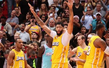 MIAMI, FL - DECEMBER 13: Anthony Davis #3 of the Los Angeles Lakers celebrates after the game against the Miami Heat on December 13 , 2019 at American Airlines Arena in Miami, Florida. NOTE TO USER: User expressly acknowledges and agrees that, by downloading and or using this Photograph, user is consenting to the terms and conditions of the Getty Images License Agreement. Mandatory Copyright Notice: Copyright 2019 NBAE (Photo by Issac Baldizon/NBAE via Getty Images)