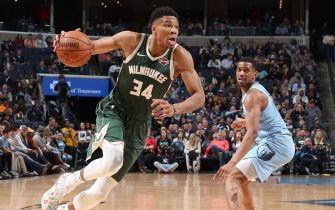 MEMPHIS, TN - DECEMBER 13: Giannis Antetokounmpo #34 of the Milwaukee Bucks handles the ball against the Memphis Grizzlies on December 13, 2019 at FedExForum in Memphis, Tennessee. NOTE TO USER: User expressly acknowledges and agrees that, by downloading and or using this photograph, User is consenting to the terms and conditions of the Getty Images License Agreement. Mandatory Copyright Notice: Copyright 2019 NBAE (Photo by Joe Murphy/NBAE via Getty Images)