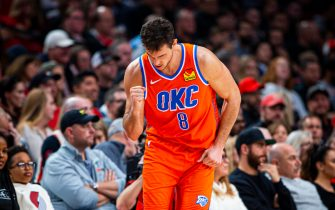 PORTLAND, OR - DECEMBER 8: Danilo Gallinari #8 of the Oklahoma City Thunder celebrates on court against the Portland Trail Blazers on December 8, 2019 at Moda Center in Portland, Oregon. NOTE TO USER: User expressly acknowledges and agrees that, by downloading and or using this Photograph, User is consenting to the terms and conditions of the Getty Images License Agreement. Mandatory Copyright Notice: Copyright 2019 NBAE (Photo by Zach Beeker/NBAE via Getty Images)