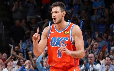 OKLAHOMA CITY, OK- NOVEMBER 10: Danilo Gallinari #8 of the Oklahoma City Thunder reacts to a play during the game against the Milwaukee Bucks on November 10, 2019 at Chesapeake Energy Arena in Oklahoma City, Oklahoma. NOTE TO USER: User expressly acknowledges and agrees that, by downloading and or using this photograph, User is consenting to the terms and conditions of the Getty Images License Agreement. Mandatory Copyright Notice: Copyright 2019 NBAE (Photo by Zach Beeker/NBAE via Getty Images)