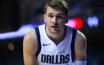 MEXICO CITY, MEXICO - DECEMBER 12: Luka Doncic #77 of the Dallas Mavericks looks on  during a game between Dallas Mavericks and Detroit Pistons at Arena Ciudad de Mexico on December 12, 2019 in Mexico City, Mexico. (Photo by Hector Vivas/Getty Images)