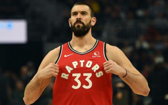 MILWAUKEE, WISCONSIN - NOVEMBER 02:  Marc Gasol #33 of the Toronto Raptors takes the court for a game against the Milwaukee Bucks at Fiserv Forum on November 02, 2019 in Milwaukee, Wisconsin. NOTE TO USER: User expressly acknowledges and agrees that, by downloading and or using this photograph, User is consenting to the terms and conditions of the Getty Images License Agreement. (Photo by Stacy Revere/Getty Images)