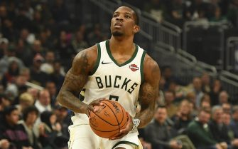 MILWAUKEE, WISCONSIN - DECEMBER 11:  Eric Bledsoe #6 of the Milwaukee Bucks takes a shot during a game against the New Orleans Pelicans at Fiserv Forum on December 11, 2019 in Milwaukee, Wisconsin. NOTE TO USER: User expressly acknowledges and agrees that, by downloading and or using this photograph, User is consenting to the terms and conditions of the Getty Images License Agreement. (Photo by Stacy Revere/Getty Images)