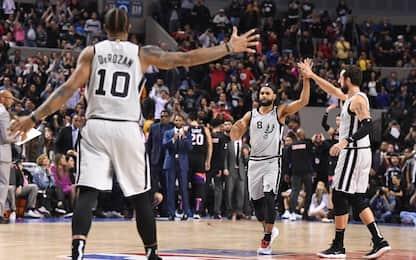 Spurs, 4 gare in fila in overtime: è record NBA