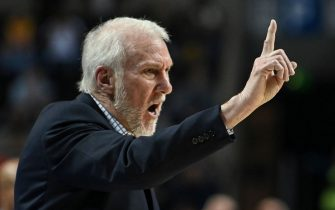 San Antonio Spurs' US head coach Gregg Popovich gestures during an NBA Global Games basketball match against the Phoenix Suns in Mexico City, on December 14, 2019. (Photo by PEDRO PARDO / AFP) (Photo by PEDRO PARDO/AFP via Getty Images)