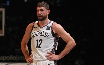 BROOKLYN, NY - NOVEMBER 29: Joe Harris #12 of the Brooklyn Nets looks on during the game against the Boston Celtic on November 29, 2019 at Barclays Center in Brooklyn, New York. NOTE TO USER: User expressly acknowledges and agrees that, by downloading and or using this photograph, User is consenting to the terms and conditions of the Getty Images License Agreement. Mandatory Copyright Notice: Copyright 2019 NBAE (Photo by Nathaniel S. Butler/NBAE via Getty Images)