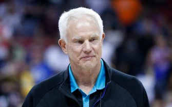 LAS VEGAS, NEVADA - JULY 10: President Mitch Kupchak of the Charlotte Hornets looks on during the 2019 Summer League at the Thomas & Mack Center on July 10, 2019 in Las Vegas, Nevada. NOTE TO USER: User expressly acknowledges and agrees that, by downloading and or using this photograph, User is consenting to the terms and conditions of the Getty Images License Agreement. (Photo by Michael Reaves/Getty Images)