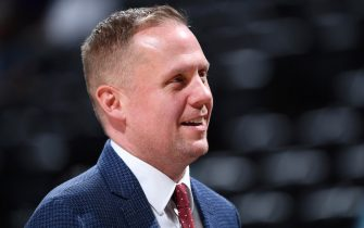 DENVER, CO - MAY 12: Denver Nuggets President Tim Connelly is seen before Game Seven of the Western Conference Semi-Finals of the 2019 NBA Playoffs against the Portland Trail Blazers on May 12, 2019 at the Pepsi Center in Denver, Colorado. NOTE TO USER: User expressly acknowledges and agrees that, by downloading and/or using this Photograph, user is consenting to the terms and conditions of the Getty Images License Agreement. Mandatory Copyright Notice: Copyright 2019 NBAE (Photo by Garrett Ellwood/NBAE via Getty Images)