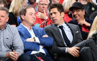 PORTLAND, OR - MAY 20: Joe Lacob, owner of the Golden State Warriors and General Manager Bob Myers attend Game Four of the Western Conference Finals against the Portland Trail Blazers on May 20, 2019 at the Moda Center in Portland, Oregon. NOTE TO USER: User expressly acknowledges and agrees that, by downloading and/or using this photograph, user is consenting to the terms and conditions of the Getty Images License Agreement. Mandatory Copyright Notice: Copyright 2019 NBAE (Photo by Andrew D. Bernstein/NBAE via Getty Images)