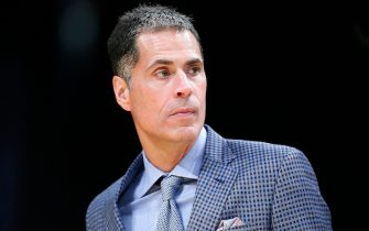 LOS ANGELES, CA - OCTOBER 14: General Manager Rob Pelinka of the Los Angeles Lakers looks on against the Golden State Warriors during a pre-season game on October 14, 2019 at STAPLES Center in Los Angeles, California. NOTE TO USER: User expressly acknowledges and agrees that, by downloading and/or using this Photograph, user is consenting to the terms and conditions of the Getty Images License Agreement. Mandatory Copyright Notice: Copyright 2019 NBAE (Photo by Chris Elise/NBAE via Getty Images)