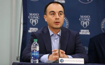 MINNEAPOLIS, MN - JULY 23: President of Basketball Operations, Gersson Rosas, of the Minnesota Timberwolves speaks during the introductory press conference on July 23, 2019 at the Minnesota Timberwolves and Lynx Courts at Mayo Clinic Square in Minneapolis, Minnesota. NOTE TO USER: User expressly acknowledges and agrees that, by downloading and/or using this photograph, user is consenting to the terms and conditions of the Getty Images License Agreement. Mandatory Copyright Notice: Copyright 2019 NBAE (Photo by David Sherman/NBAE via Getty Images)