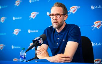 OKLAHOMA CITY, OK - SEPTEMBER 26: Oklahoma City Thunder General Manager Sam Presti speaks to media at preseason media availability at the Thunder ION on September 26, 2019 in Oklahoma City, OKlahoma. NOTE TO USER: User expressly acknowledges and agrees that, by downloading and or using this photograph, User is consenting to the terms and conditions of the Getty Images License Agreement. Mandatory Copyright Notice: Copyright 2019 NBAE (Photo by Zach Beeker/NBAE via Getty Images)