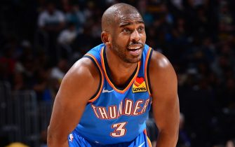 DENVER, CO - DECEMBER 14: Chris Paul #3 of the Oklahoma City Thunder looks on during the game against the Denver Nuggets on December 14, 2019 at the Pepsi Center in Denver, Colorado. NOTE TO USER: User expressly acknowledges and agrees that, by downloading and/or using this Photograph, user is consenting to the terms and conditions of the Getty Images License Agreement. Mandatory Copyright Notice: Copyright 2019 NBAE (Photo by Bart Young/NBAE via Getty Images)